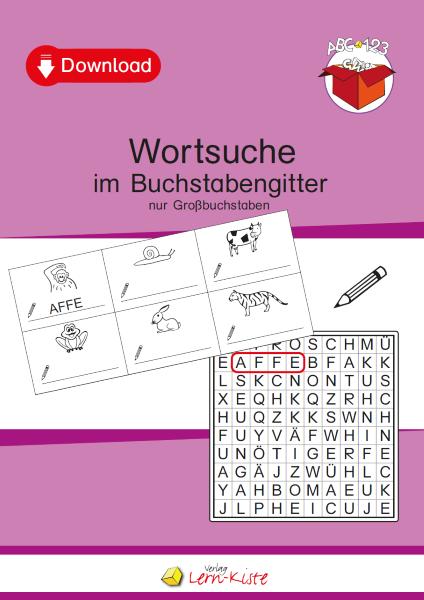 Buchstabengitter, Wörter, Nomen, Großbuchstaben