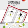 TEACCH, Arbeitsmappe, Klettmmappe, strukturierte Arbeitsmappe, Größen, Größenunterscheidung, Obst