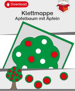 TEACCH, Arbeitsmappe, Klettmmappe, strukturierte Arbeitsmappe, Apfel, Apfelbaum