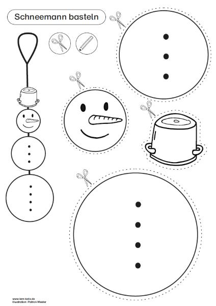 Schneemann basteln, Weihnachten, Adventszeit, Bastelvorlage, Schneemann