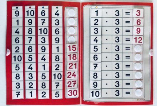 TEACCH, Multiplikation, ZR 100, Zahlenraum 100, Einmaleins, Kleines Einmaleins, 3er Reihe