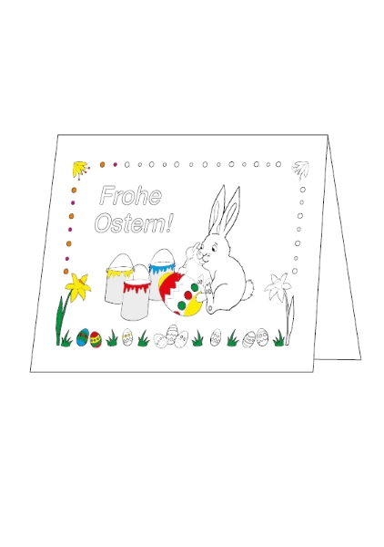 Ostern, Ostereier, Unterrichtsmateriel, kostenlos, Ausmalbild, Osterhase, Faltkarte