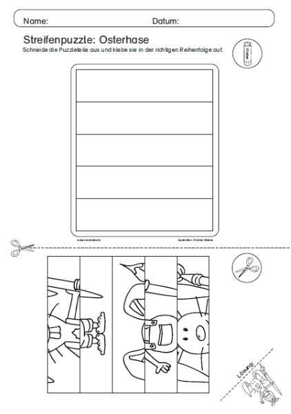 Unterrichtsmateriel, kostenlos, Ausmalbild, Streifenpuzzle, Osterhase